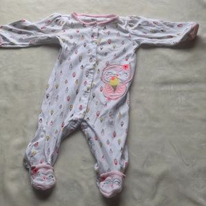 Just One You White & Pink Ice Cream Footie Pajama